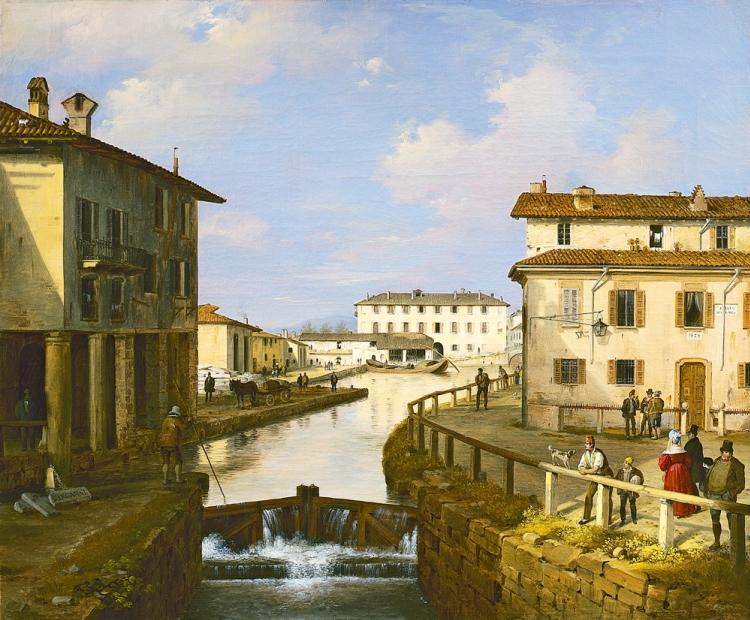 Angelo Inganni, Il Naviglio dal ponte di San Marco, 1834-1837, olio su tela, Collezione Intesa Sanpaolo