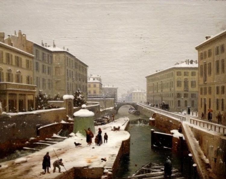 Angelo Inganni, Veduta presa sul ponte di Porta orientale con neve cadente, 1850 circa, olio su tela
