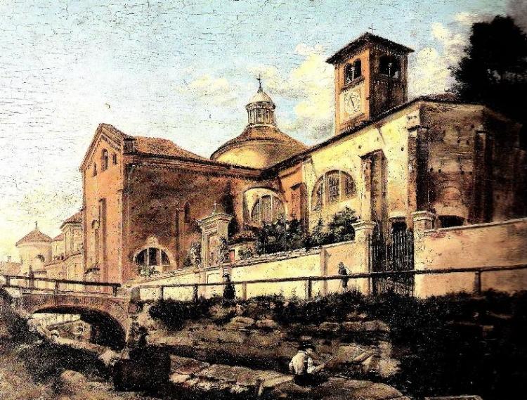 Carlo Pizzi, la Chiesa di San Marco e la strada di Fatebenefratelli, collezione privata