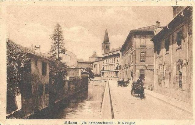 Il Naviglio in via Fatebenefratelli, primi del '900