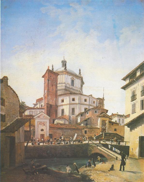 Anonimo, La basilica di San Lorenzo vista da piazza Vetra, 1840, olio su tela, Milano, Museo di Milano.