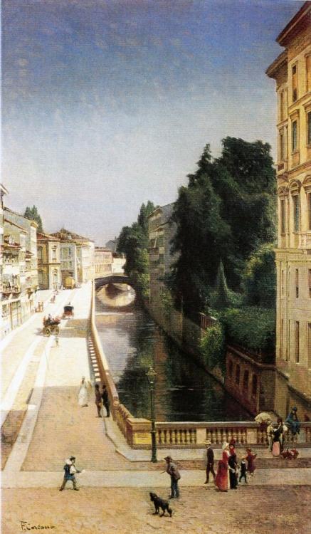 Filippo Carcano, Il Naviglio di via Senato, 1870, olio su tela.