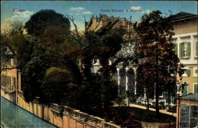 Il Palazzo Visconti di Modrone visto dal lato Naviglio, cartolina acquarellata, anni '10