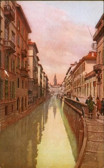 Via Fatebenefratelli in una cartolina colorata