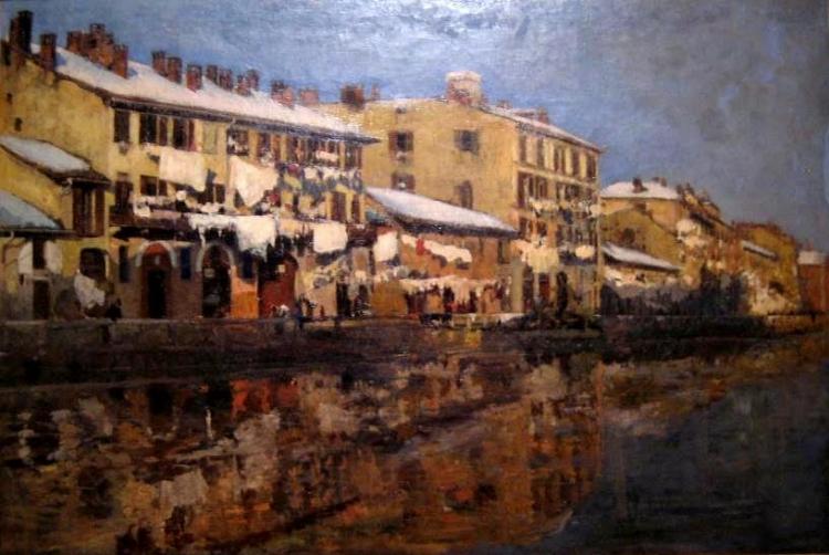 Emilio Gola, Naviglio, 1880, olio su tela, Milano, Archivio Fotografico Quadreria dell'Ottocento.