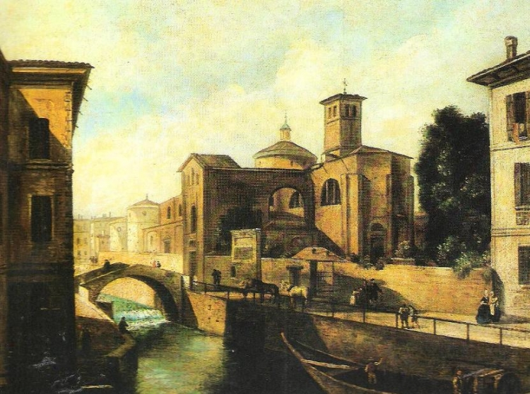 Ignoto, Il ponte Marcellino con la chiesa di San Marco, collezione privata