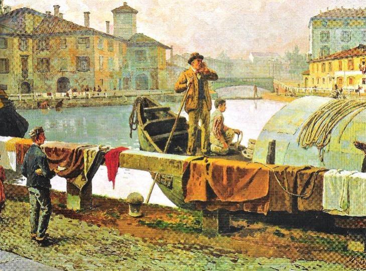 Giuseppe Cannella, Veduta del canale Naviglio presa dal ponte di San Marco (1834), collezione Cariplo