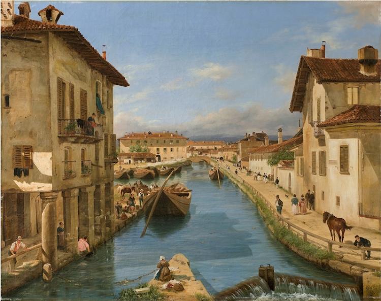 Giuseppe Canella, Veduta del Canale Naviglio preso dal ponte di San Marco, 1834, olio su tela, Milano, Fondazione Cariplo.