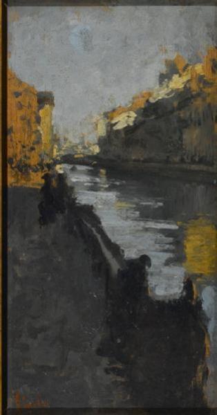 Emilio Gola, Il Naviglio di Corsico, 1880 circa, olio su tela.