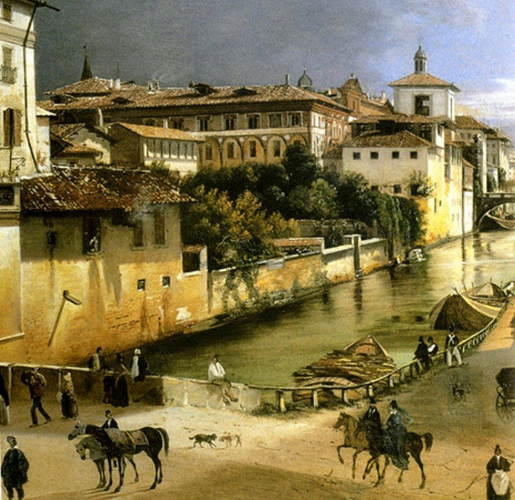 Anonimo, veduta del Naviglio di Porta Romana con l'Ospedale Maggiore, 1835