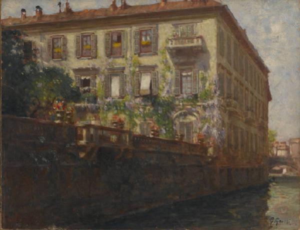 Giannino Grossi, Palazzo Silvestri, 1917, olio su tela, Milano, Museo di Milano.