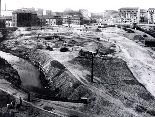 Le acque dei due rami dell'Olona riunite nel nascente Parco Solari, 1932