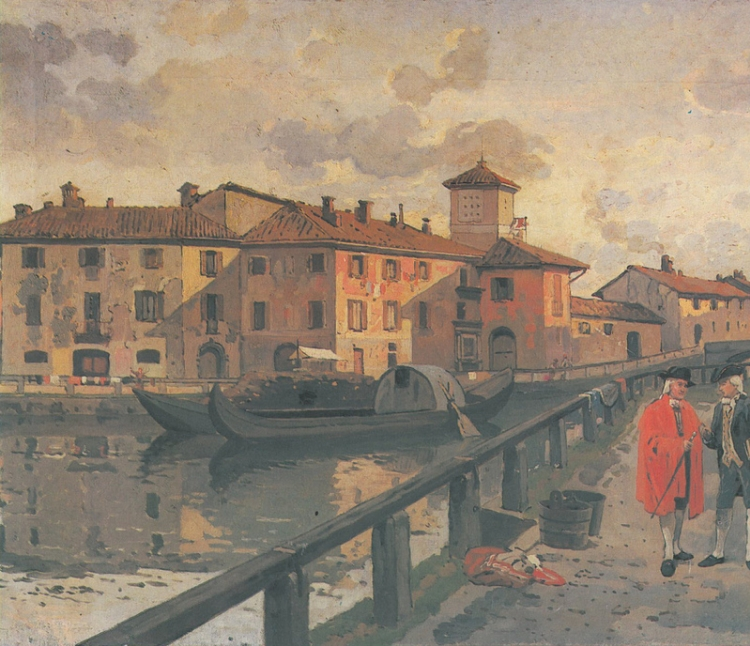 Arturo Ferrari - Via Arena, le conche, veduta settecentesca in realtà realizzata nel 1895, Museo di Milano