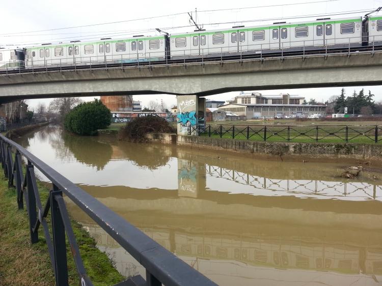 Martesana: il ponte della MM3 per Gessate - 6-01-2014