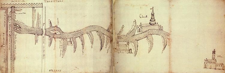 La Vettabbia e le sue bocche di irrigazione, disegno a  inchiostro.Archivio di Stato di Milano.