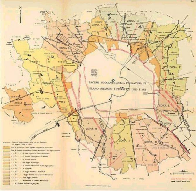 Bacino scolante fognatura Milano secondo i progetti del 1899 e 1901