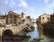 Angelo Inganni, Il Naviglio in via Fatebenefratelli, 1835, olio su tela, Milano, Mediocredito Lombardo.