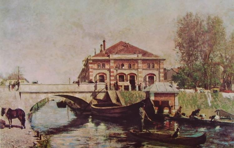 Giuseppe Barbaglia, Le cucine economiche sul Naviglio, 1900 circa, olio su tela, Rozzano, Collezione Alberto Zanoletti.