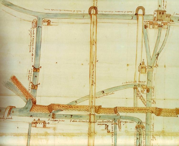 Disegno visuale che dimostra il principio della Vecchiabbia metà del XVI sec., disegno a penna acquarellato, Biblioteca Ambrosiana, Milano.