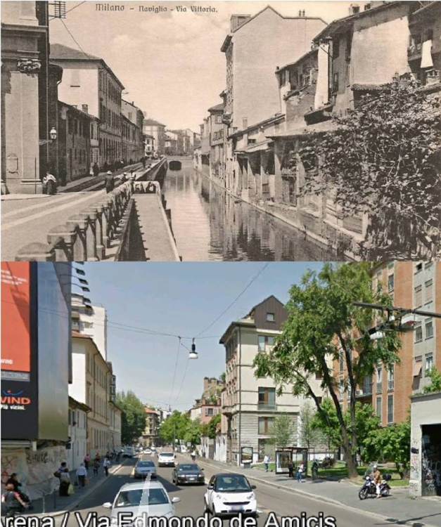 Milano, via Edmondo De Amicis, inizi del '900