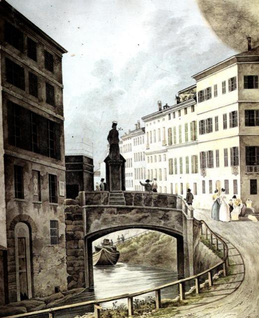 Ignoto, ponte di Porta Romana con la statua di San Giovanni Nepomuceno, collezione privata