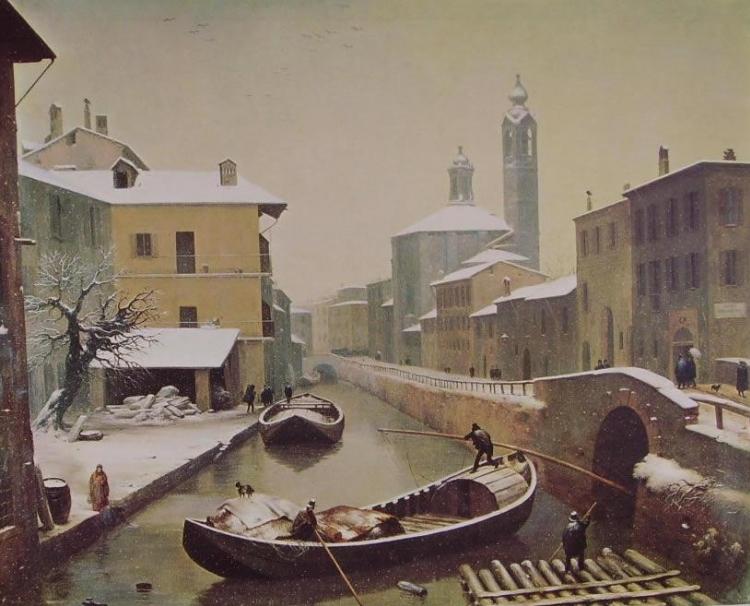 Angelo Inganni, Naviglio sotto la neve, 1845, olio su tela.