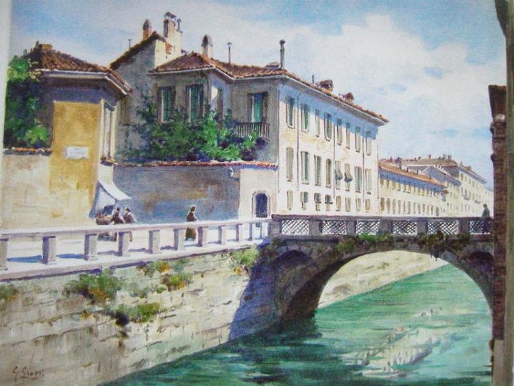 La Pia Casa, sul Naviglio interno, dipinto di Giannino Grossi