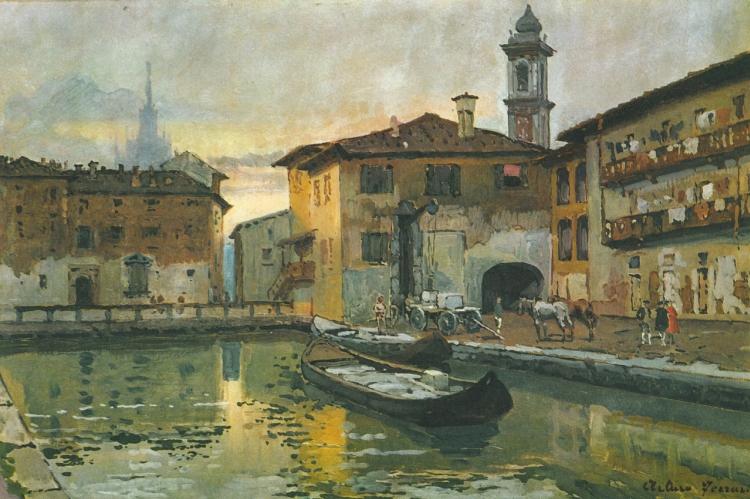 Arturo Ferrari, Il laghetto dell'Ospedale, senza data, olio su tela.