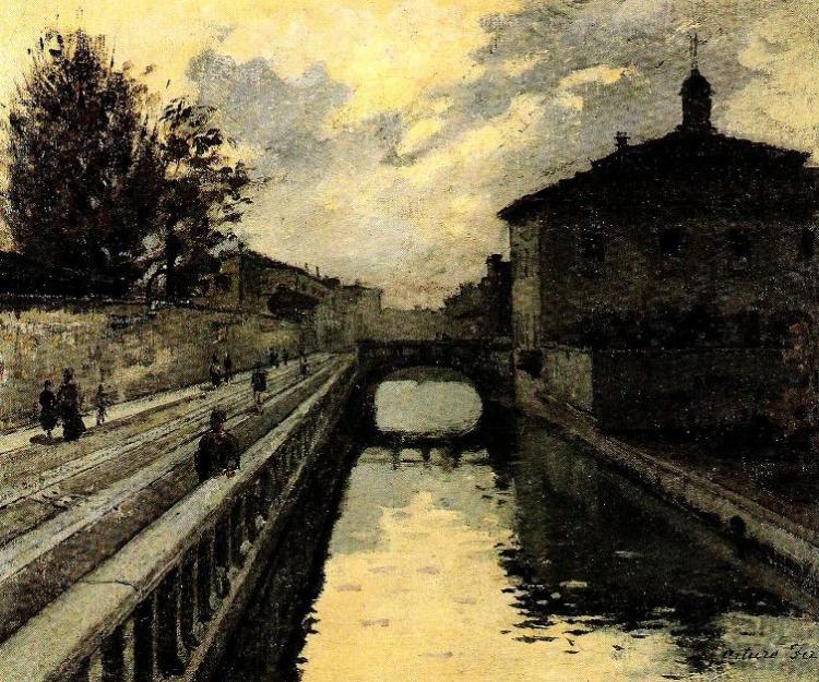 Arturo Ferrari, Via Francesco Sforza con il Giardino della Guastalla e il ponte dell'Ospedale